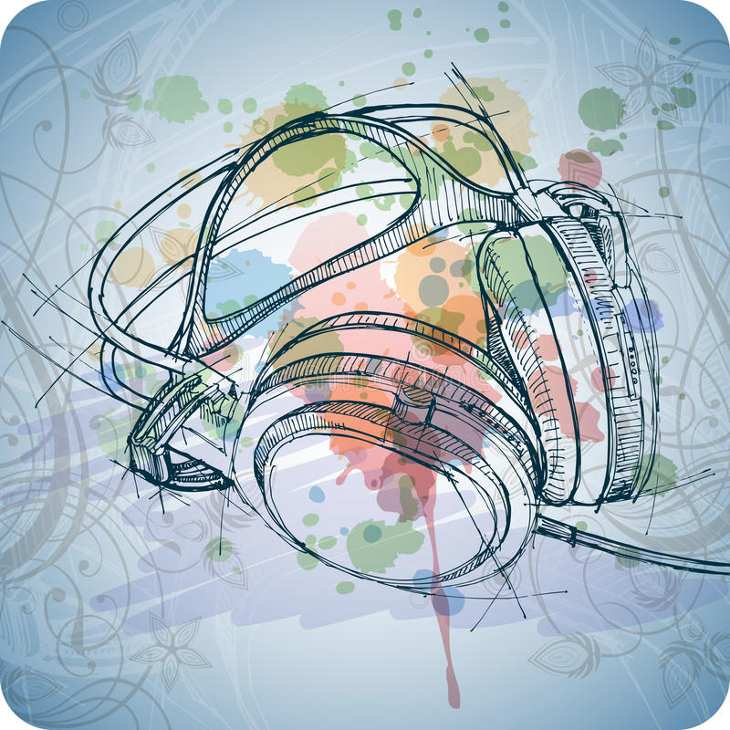 Sketch of headphones on the color paint vector illustration