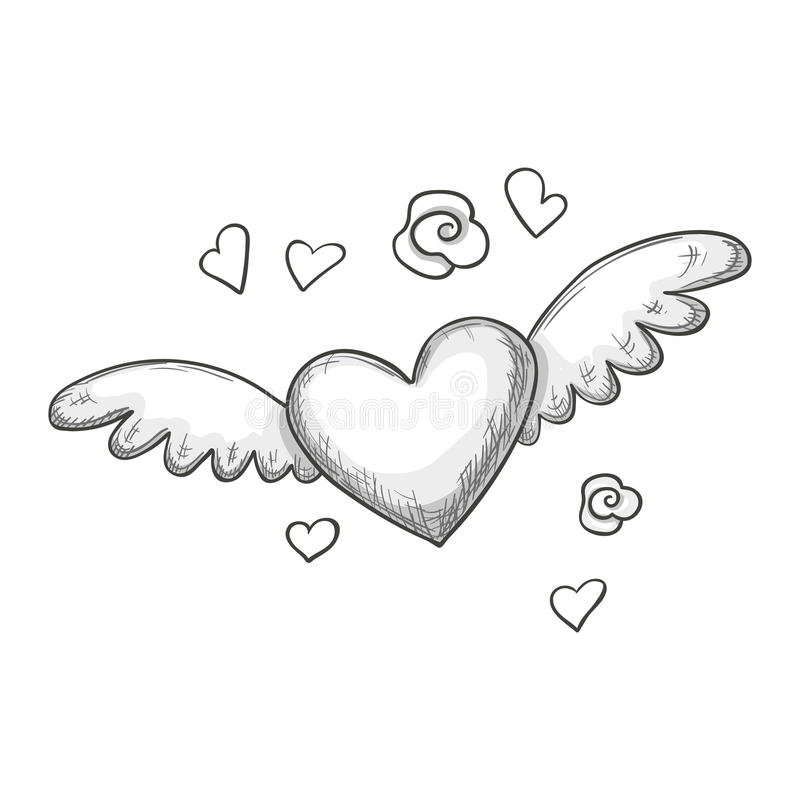 Sketch Heart With Wings Stock Vector Illustration Of Passion 85019141