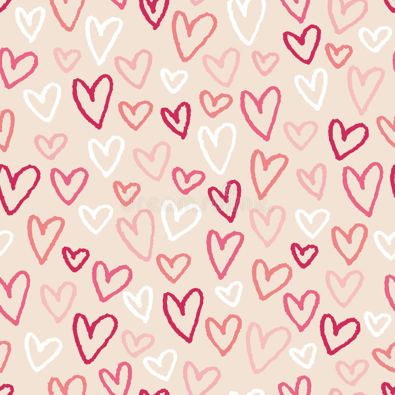 Sketch Hearts Seamless Background Pattern Stock Image