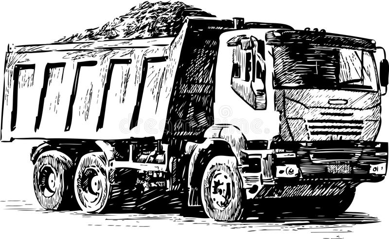Sketch of a heavy lorry stock vector. Illustration of transportation ...