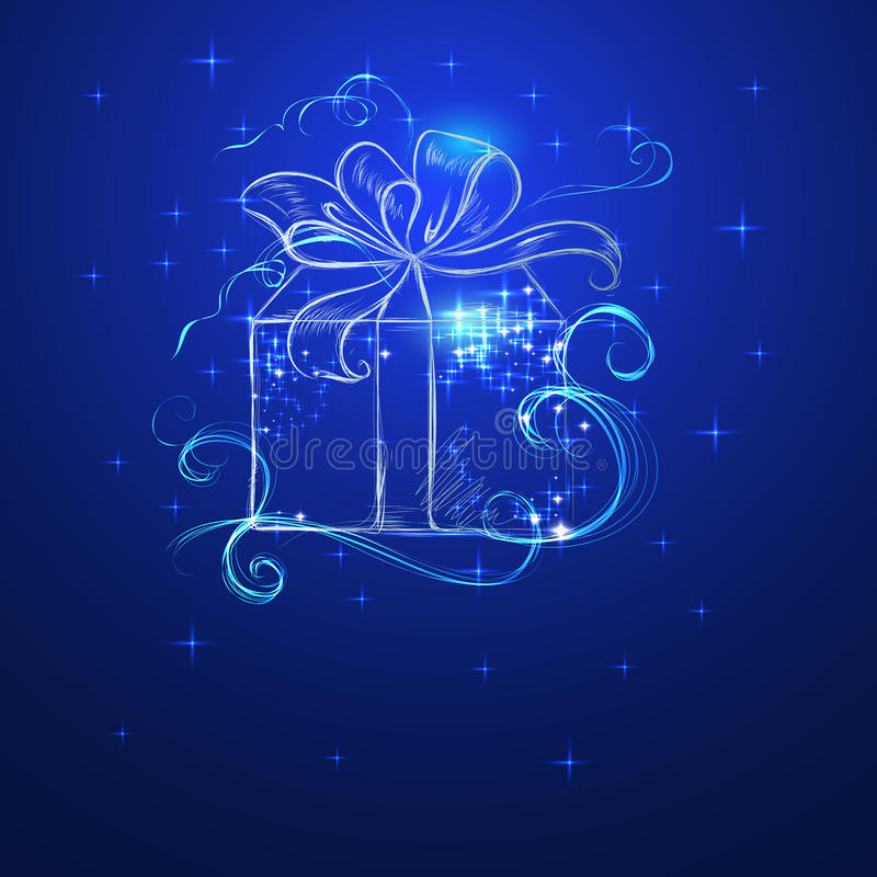 Sketch holiday box with bow royalty free stock photo