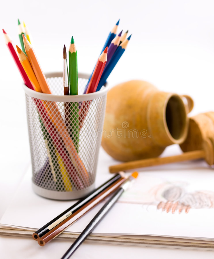 Sketch of Honey Pot and Dipper stock photography