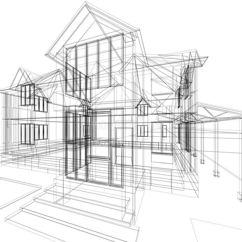 Sketch of house. Abstract sketch of house. 3d architecture illustration