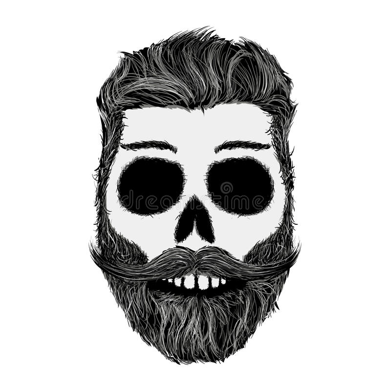 download sketch of human skull with a mustache and beard hipster style stock illustration