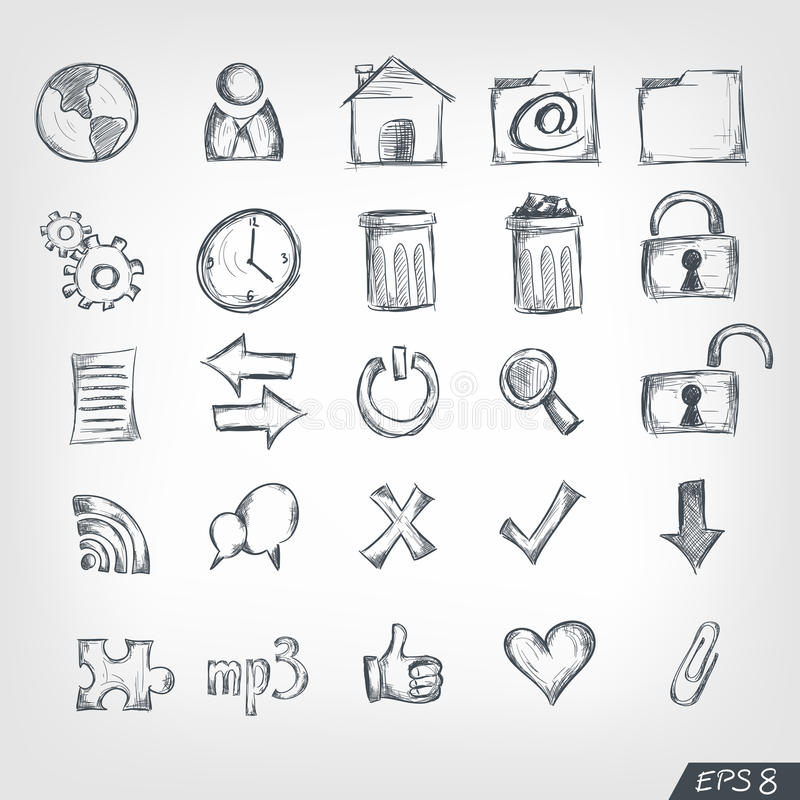 Sketch Icon Set. Computer and Internet Sketch Icon Set. Vector royalty free illustration