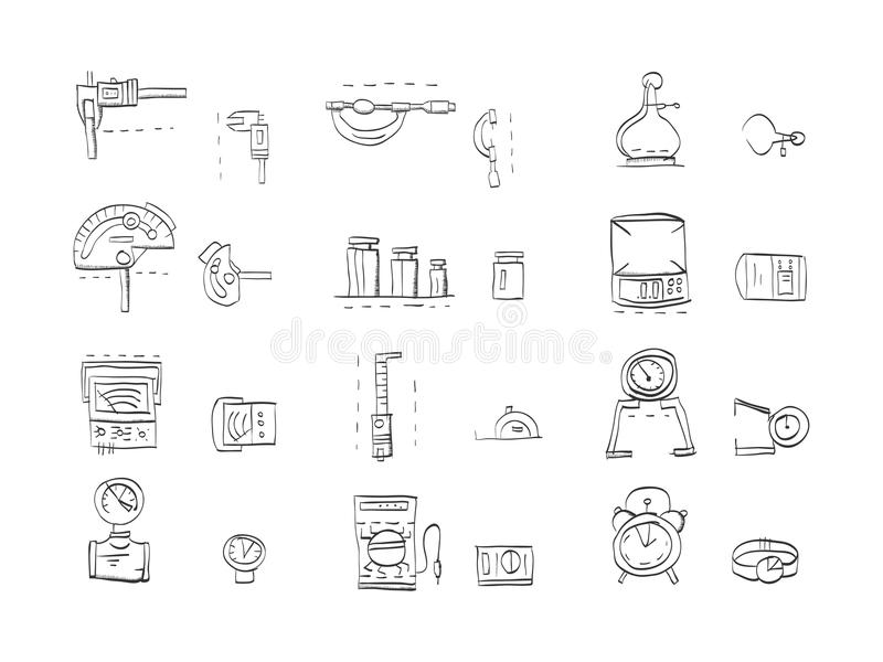 Sketch icons collection for metrology. Hand drawn sketch icons for metrology and engeneering equipment. Tools for measuring various quantities. Calipers royalty free illustration
