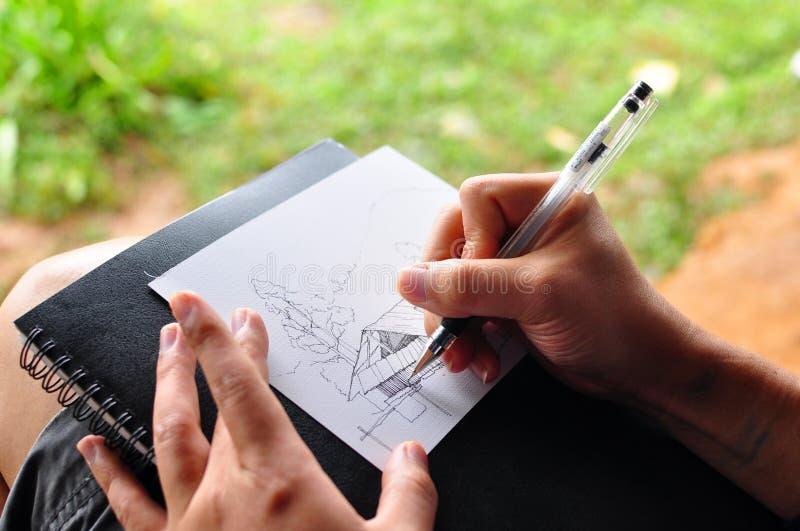 Sketch idea. For new house with garden royalty free stock photos