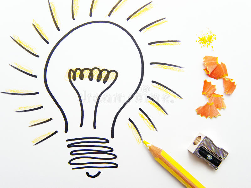 Sketch of ideas light bulb stock image