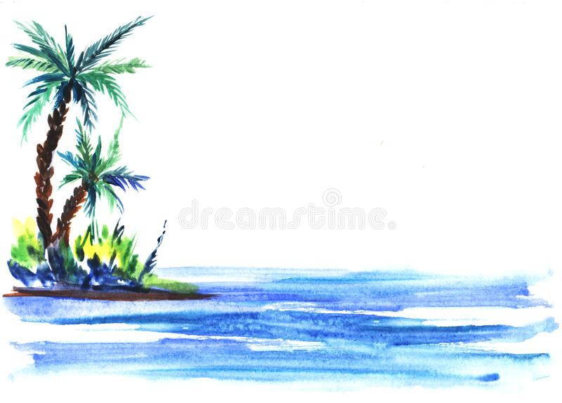 Sketch illustration of a green island with lush bushes and palm trees in blue sea waters. Hand-drawn watercolor illustration vector illustration