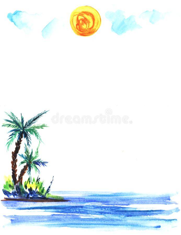 Sketch illustration of a green island with lush bushes and palm trees in blue sea waters. Under a light cumulus clouds and round yellow sun Hand-drawn stock illustration