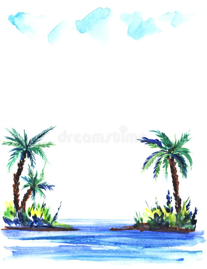 Sketch illustration of a green island with lush bushes and palm trees in blue sea waters.Under a light cumulus clouds. Hand-drawn watercolor illustration vector illustration