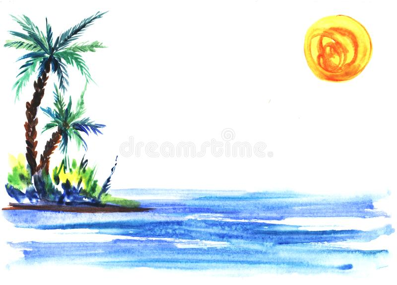 Sketch illustration of a green island with lush bushes and palm trees in blue sea waters.Under round yellow sun. Hand-drawn watercolor illustration stock illustration