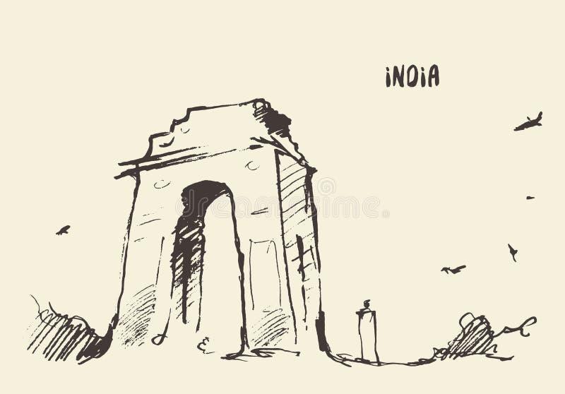 Sketch India Gate New Delhi Vector illustration. Sketch of the India Gate, New Delhi. Vector illustration royalty free illustration