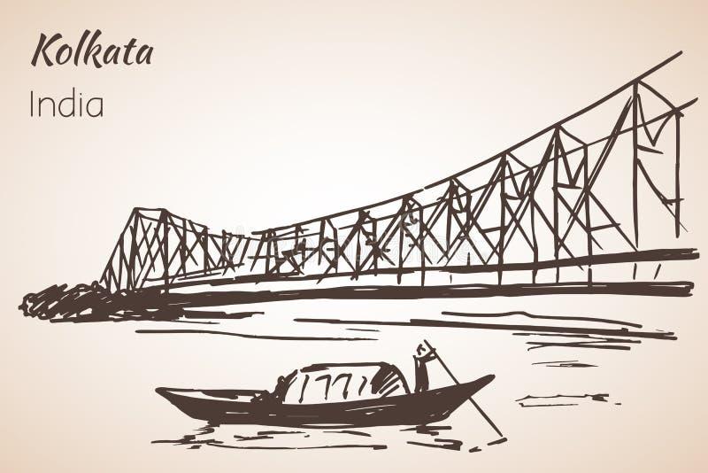 Sketch of indian city Kolkata bridge. vector illustration