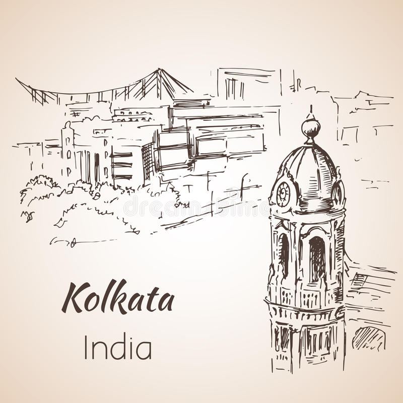 Sketch of indian city Kolkata. Isoated on whita background vector illustration