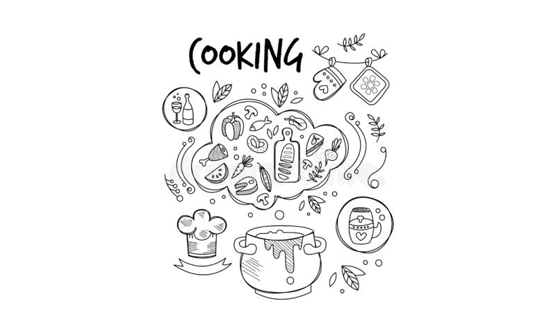 Sketch of ingredients and tools for food preparation. Dinner cooking. Culinary theme. Hand drawn vector icons vector illustration