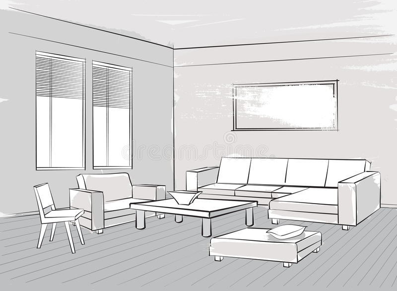 Sketch of interior beautiful room living room furniture stock beautiful room living room furniture stock image image of malvernweather Images
