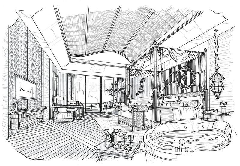 Sketch interior perspective bedroom black and white for Negozio di mobili di design