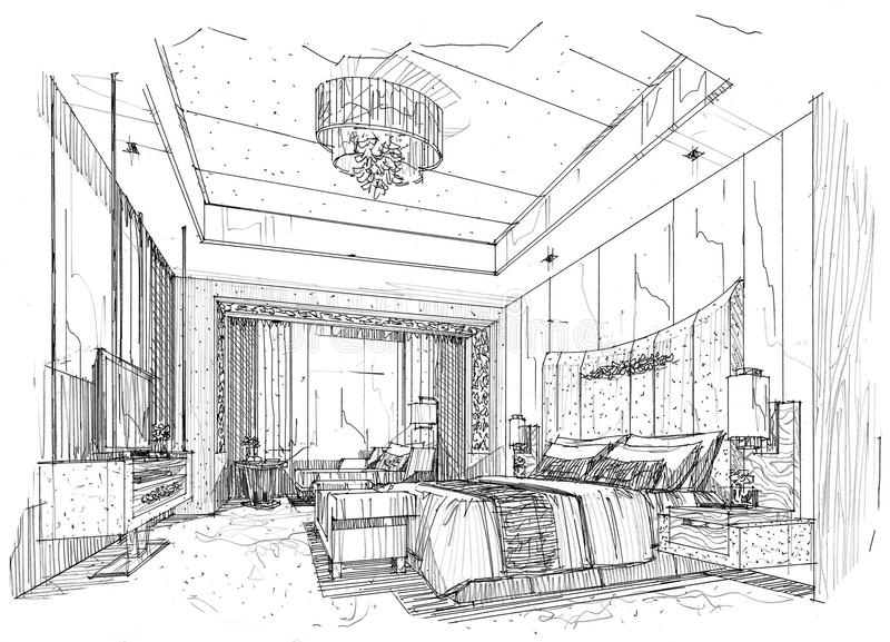 Sketch interior perspective bedroom black and white for Exterior 1 point perspective