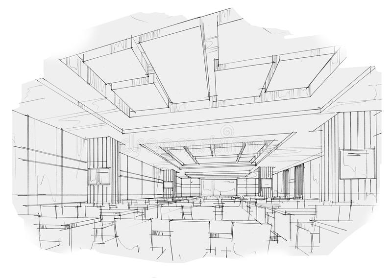 Classroom Design Sketch ~ Sketch interior perspective classroom black and white