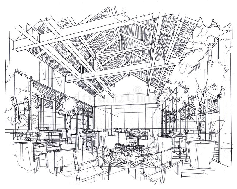 Sketch interior perspective restaurant black and white