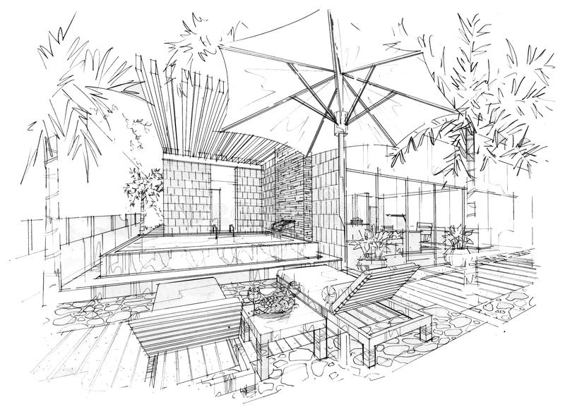 Sketch Interior Perspective Swimming Pool, Black And White Interior on ceiling lighting interior design, dark interior design, nordic interior design, black interior designers, all black and white interior design, modern minimalist house design, modern hotel bar and lounge interior design,