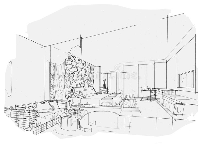 Sketch Interior Perspective Swimming Pools, Black And White Interior on dark interior design, modern minimalist house design, ceiling lighting interior design, modern hotel bar and lounge interior design, black interior designers, nordic interior design, all black and white interior design,