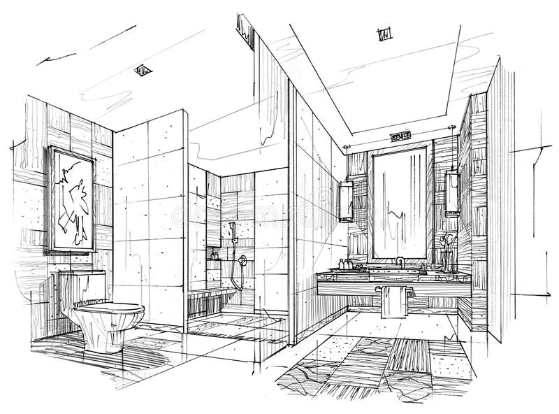 Sketch Interior Perspective Toilet Bathroom Black And White Interior Design Stock