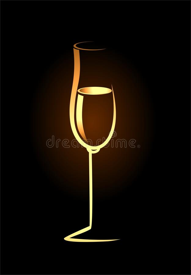 Sketch of isolated golden champagne glass royalty free illustration
