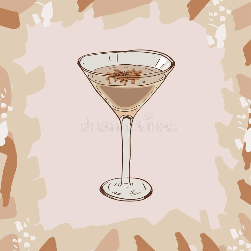 Brandy Alexander cocktail illustration. Alcoholic classic bar drink hand drawn vector. Pop art vector illustration