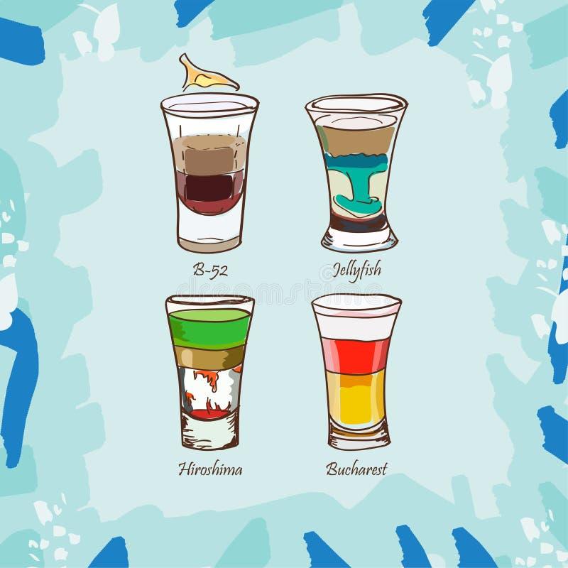 B-52, Hiroshima, Jellyfish, Bucharest cocktail illustration. Alcoholic classic bar drink hand drawn vector. Pop art. Sketch isolated illustration of short drink vector illustration