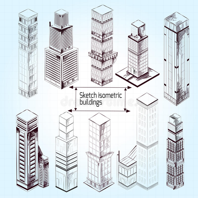 Download Sketch Isometric Buildings Stock Vector Image Of Drawn