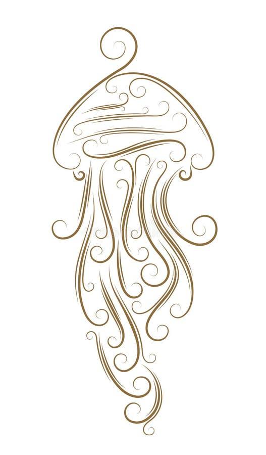 Sketch of jellyfish. Golden brush royalty free illustration