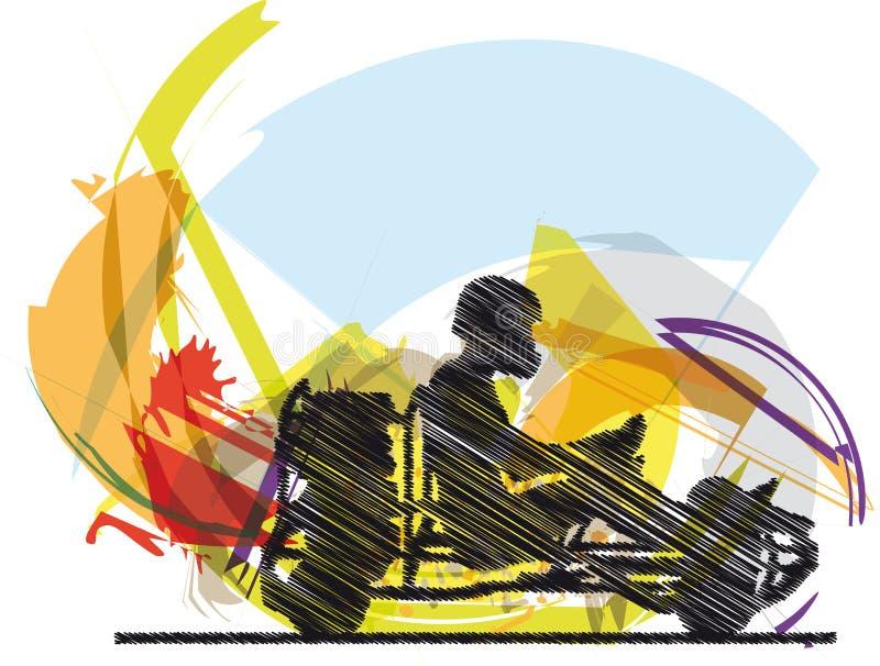 Sketch of kart race royalty free illustration