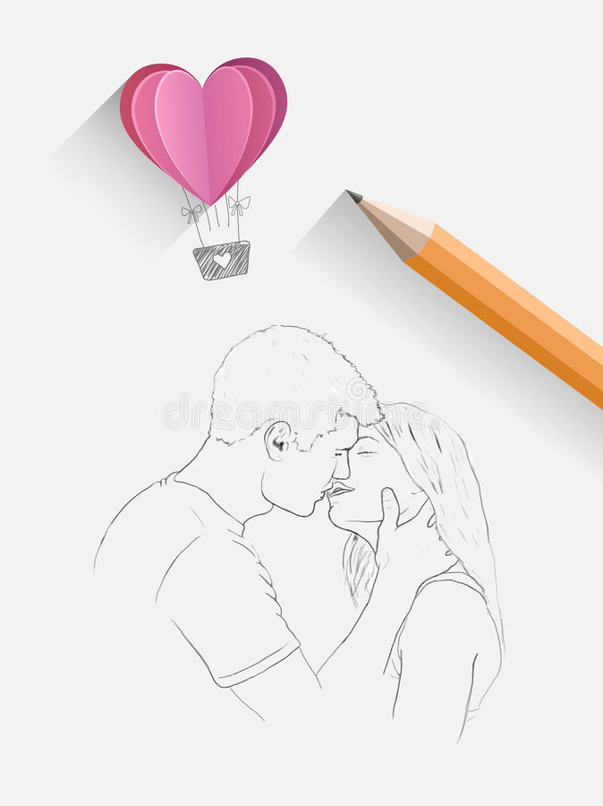 Sketch of kissing couple with pencil. Digitally generated Sketch of kissing couple with pencil royalty free illustration