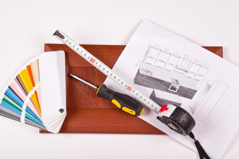 Sketch of kitchen furniture and furniture facade isolate stock photography