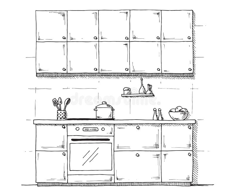 Sketch Of Kitchen Furniture On A White Background. Vector
