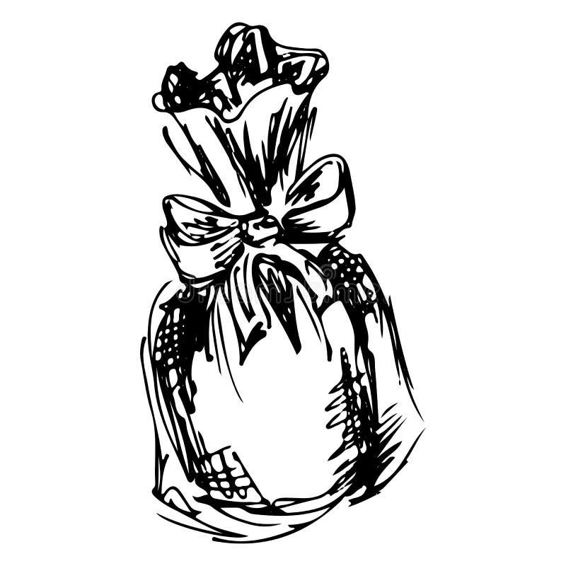 Sketch of lavender bag illustration. Hand drawn. Doodle, line art.  royalty free illustration