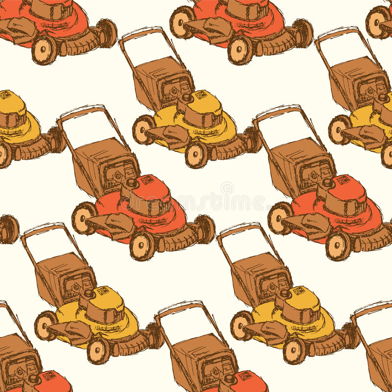 Sketch lawn mover in vintage style vector illustration