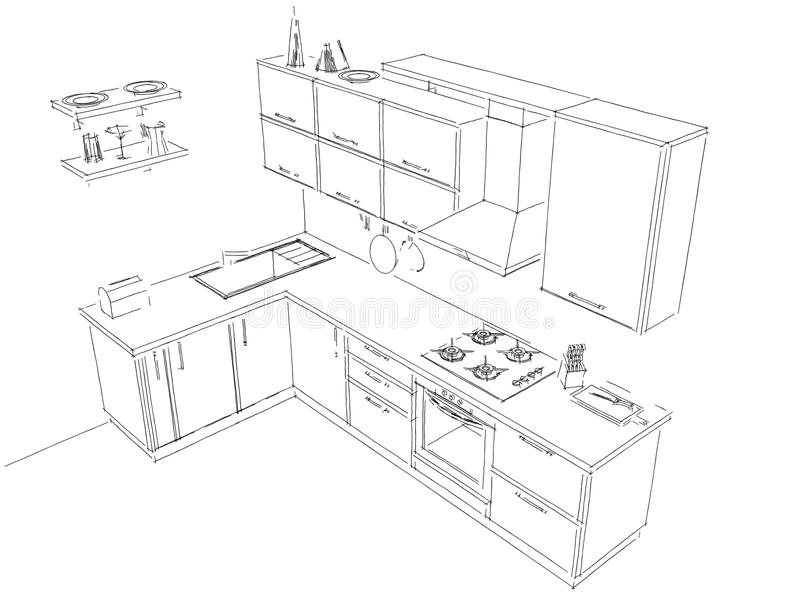 Delicieux Download Sketch Layout Drawing Of 3d Modern Corner Kitchen Interior Black  And White Stock Illustration