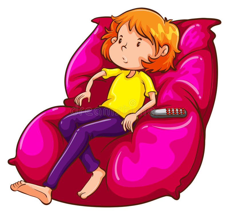 A sketch of a lazy girl at the couch. Illustration of a sketch of a lazy girl at the couch on a white background royalty free illustration