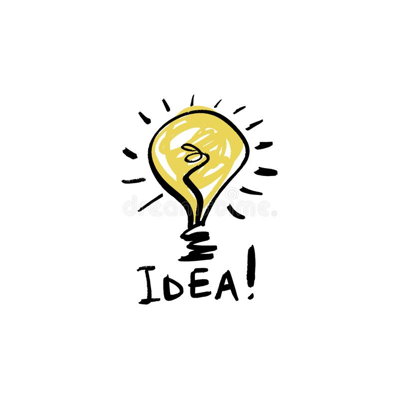 Sketch light bulb icon, idea concept. Doodle style, handdrawn funny sign royalty free illustration