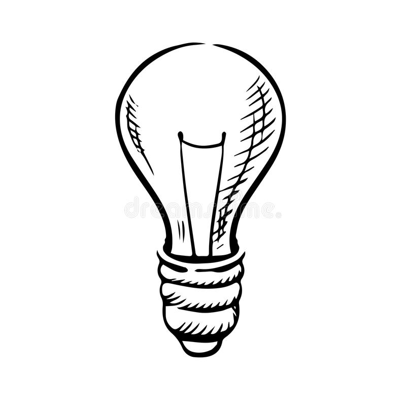 Sketch of light bulb icon vector illustration