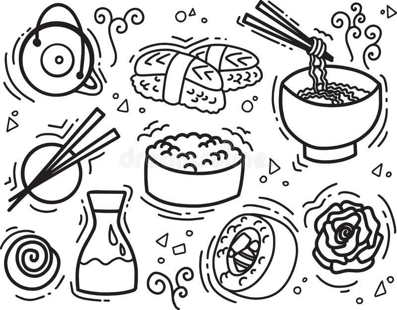 Sketch line food vector illustration with asian snacks, tea, noodles and Sushi rolls traditional seaweed. Asia cuisine restaurant delicious vector illustration