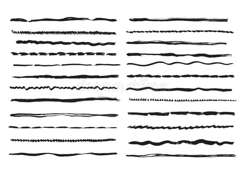 Sketch lines. Pencil textured doodle freehand line strokes chalk scribble black ink line isolated vector set vector illustration