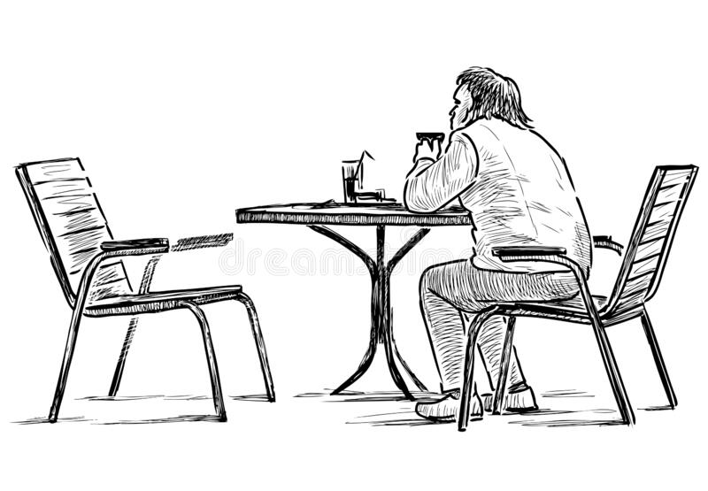 Sketch of lonely townsman sitting in outdoor caffe in wait. Freehand drawing of lonely townsman sitting in street cafe in drinking tea royalty free illustration