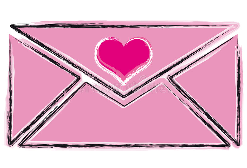 Sketch Love Letter royalty free illustration
