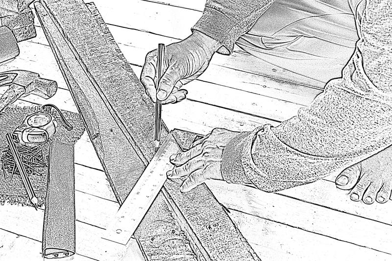 Sketch male carpenter working with wood pencil with machinist square at work place.Background craftsman tool.Zoom in01. Sketch male carpenter working with wood stock image