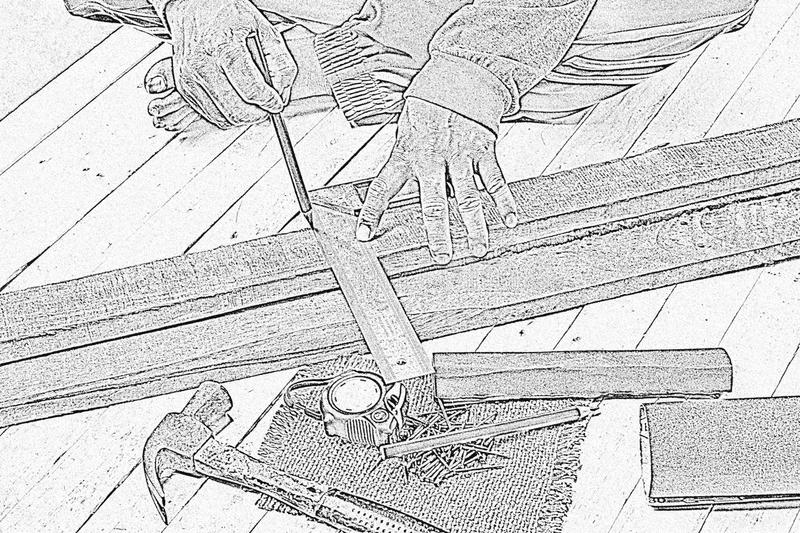Sketch male carpenter working with wood pencil and tools at work place.Background craftsman tool.Zoom in1. N royalty free stock photos