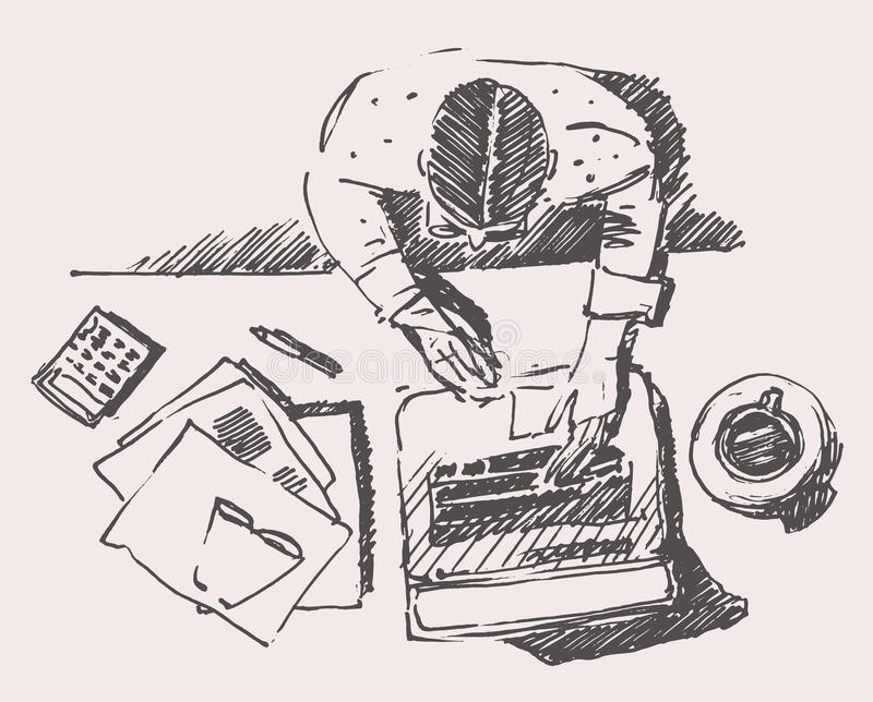 sketch of man with computer office work hand drawn stock